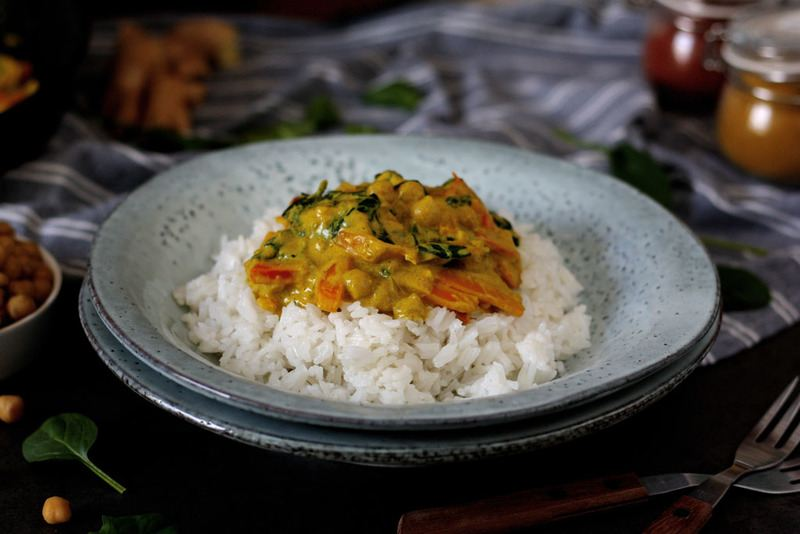 Rezept Mildes Spinat-Kichererbsen-Curry