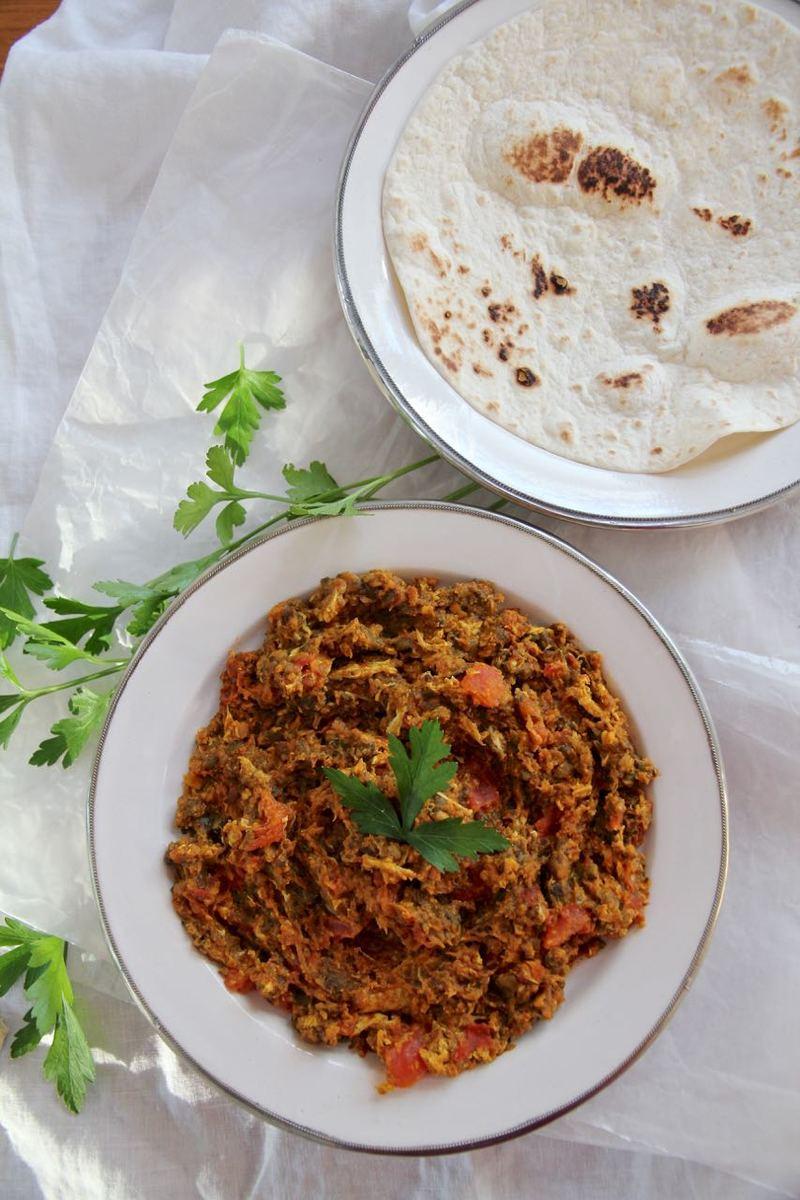 Rezept Mirza Ghasemi - persischer rauchiger Auberginen-Dip