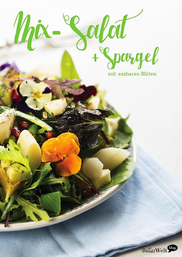 Rezept Mix-Salat und Spargel mit essbaren Blüten