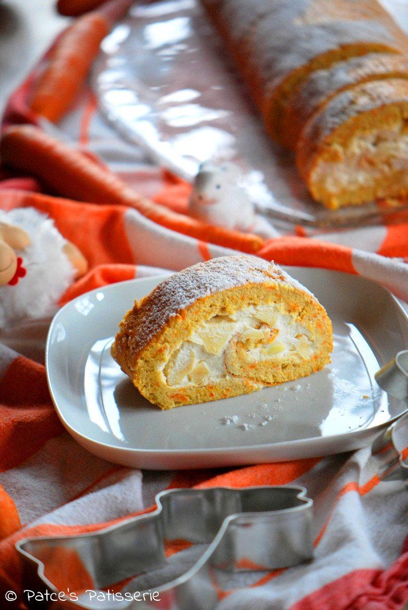 Rezept Möhren-Biskuitroulade mit Apfel-Quark-Füllung