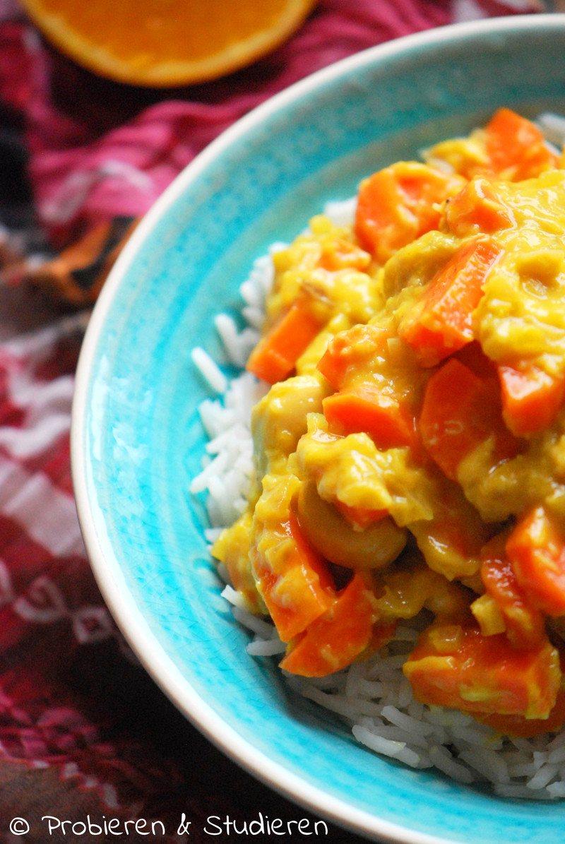 Rezept Möhren Cashew Curry mit Orange & Kokosmilch