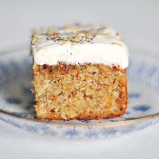 Rezept Möhrenkuchen ohne Mehl mit Quark-Zitronen-Frosting