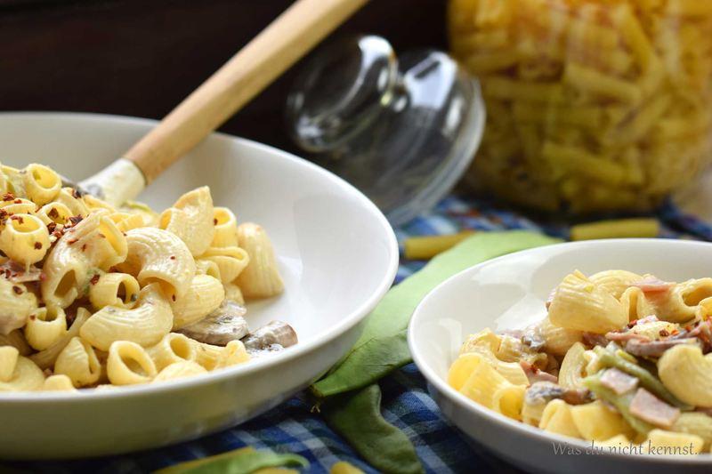 Rezept Nudeln mit Champignons und Bohnen