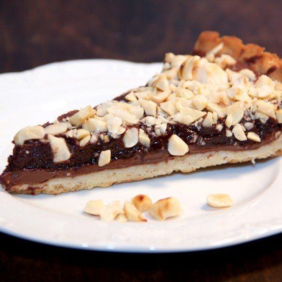 Rezept Nutella Schokoladen Tart mit Haselnüssen