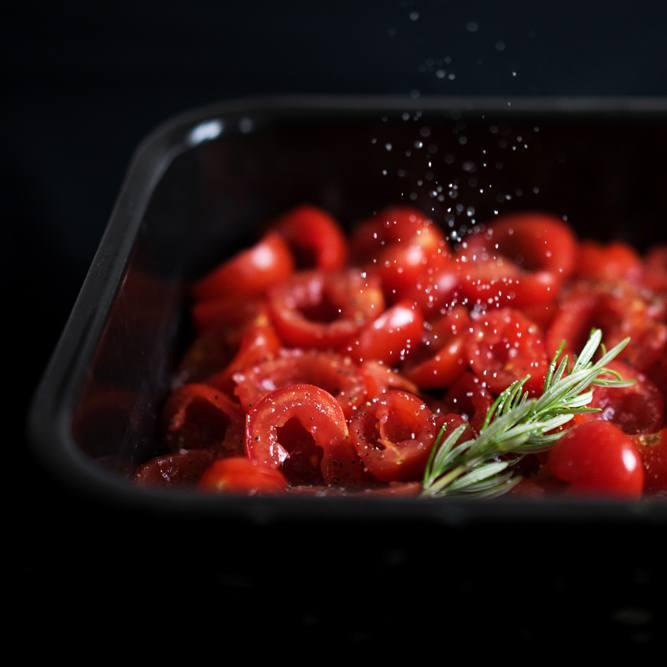Rezept Ofengetrocknete Tomaten mit Knoblauchöl und Rosmarin