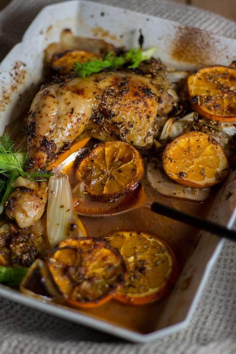 Rezept Ofenhähnchen mit Fenchel und Orangen in Portweinsauce