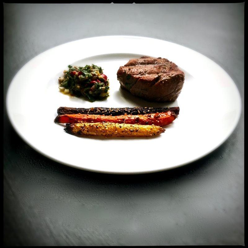 Rezept Ofenkarotten und ein perfektes Filetsteak mit Chimichurri