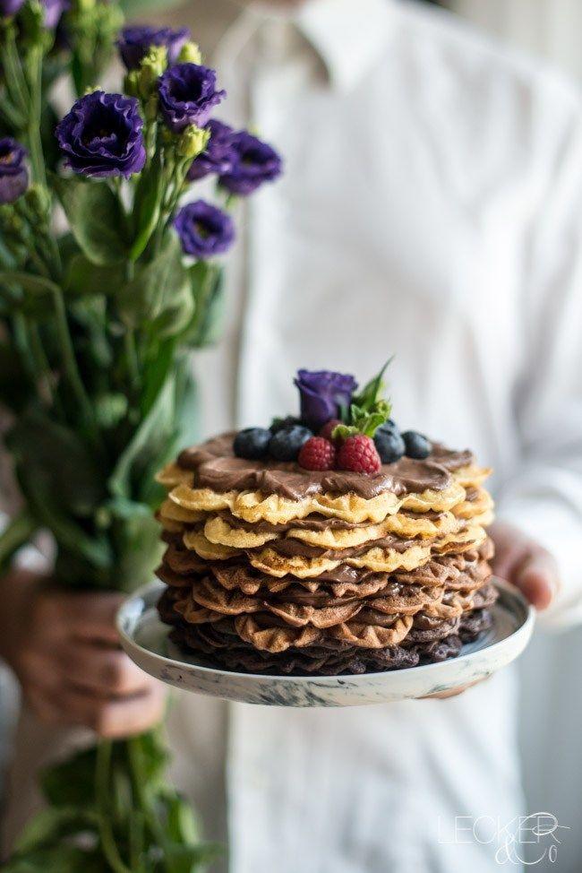 Rezept Ombre Schokoladen Waffel Törtchen zum Muttertag