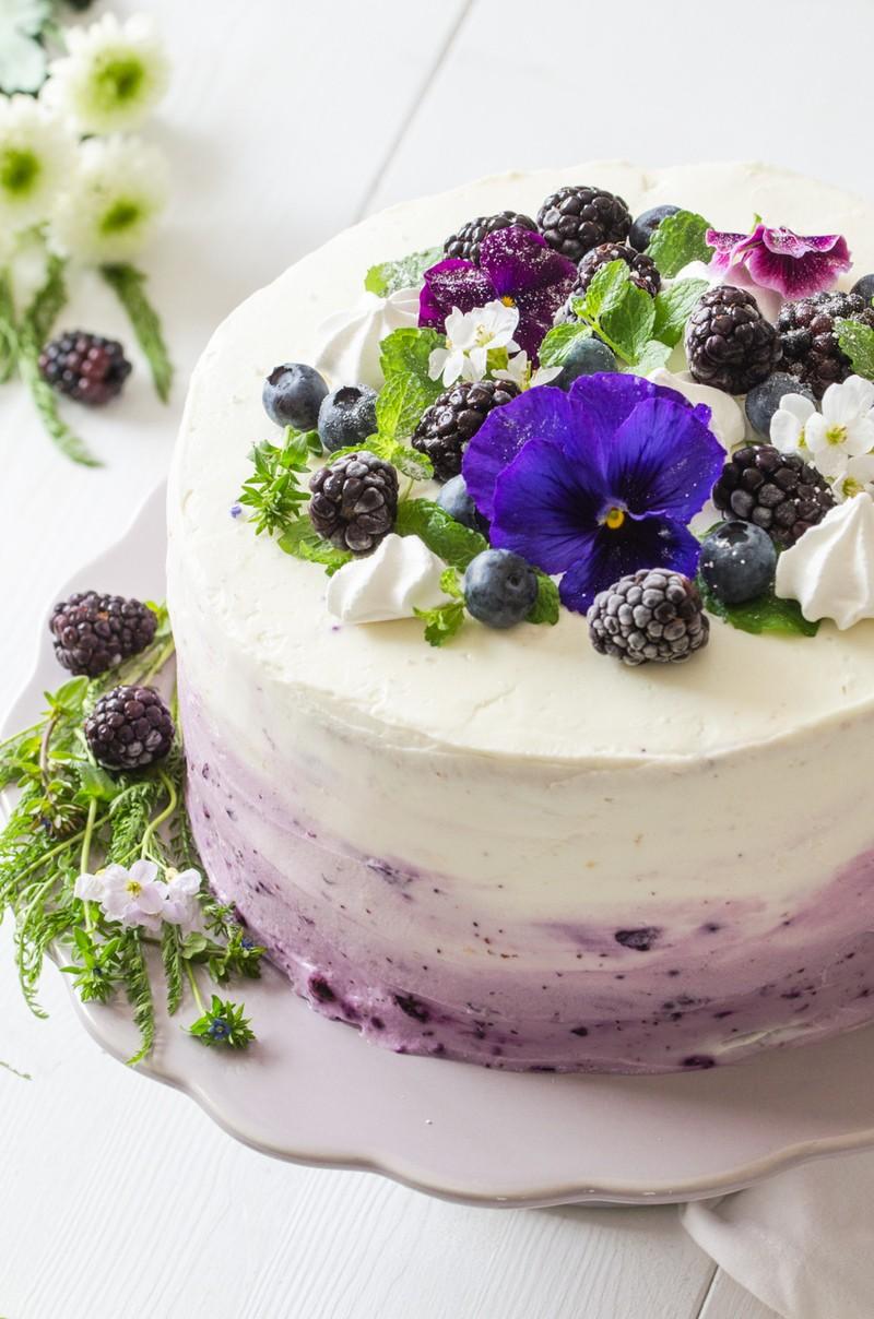 Rezept Ombre-Torte mit Heidelbeeren