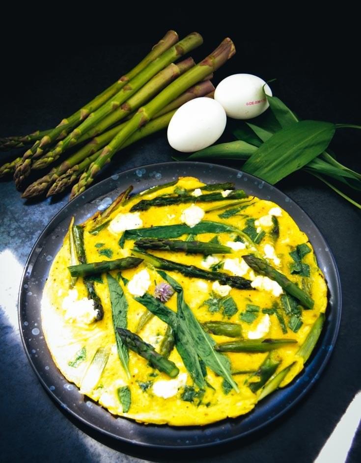 Rezept Omelett mit Spargel und Bärlauch