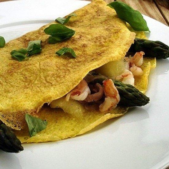 Rezept Omeletts mit Spargel, Lachs, Garnelen und Melone