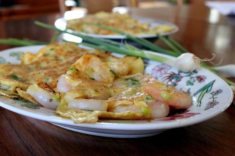 Rezept Omletten mit Garnelen und Fruehlingszwiebeln