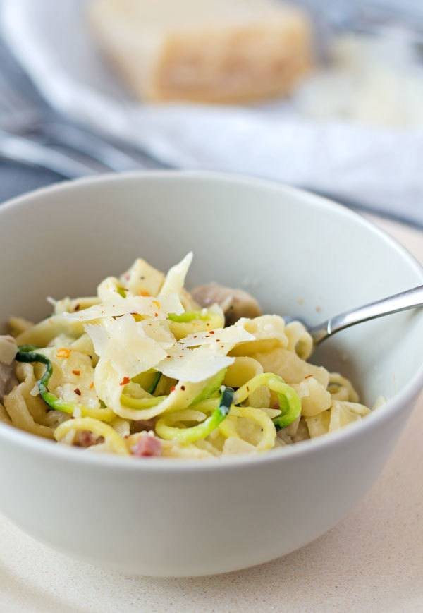 Rezept One-pot-Pasta mit Champignons und Schinken
