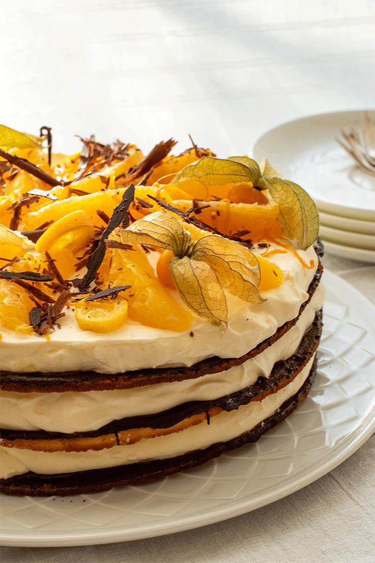 Rezept Orangentorte mit Schokolade