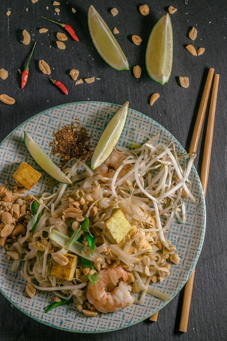 Rezept Pad Thai mit Tofu und Garnelen