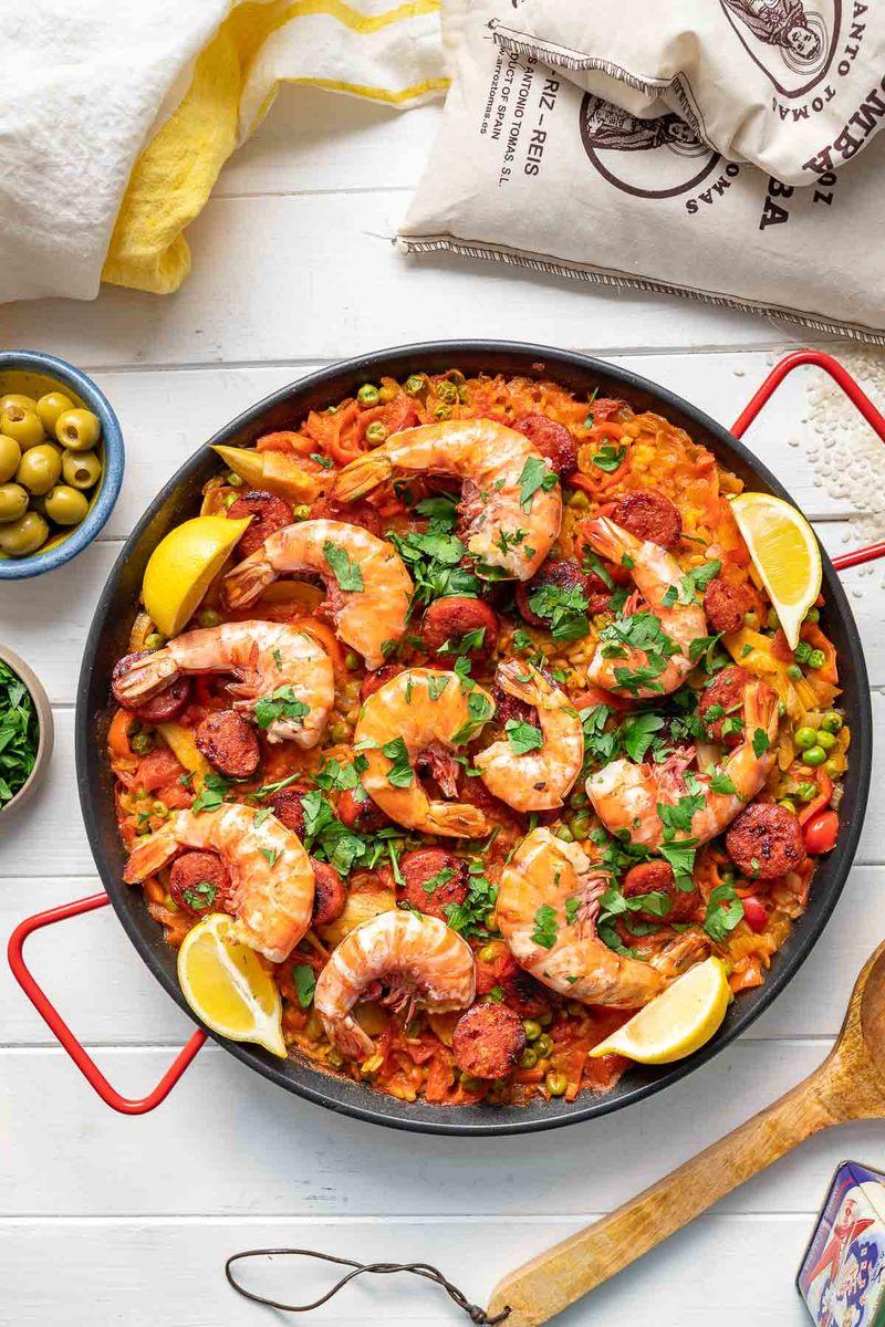 Rezept Paella mit Garnelen und Chorizo
