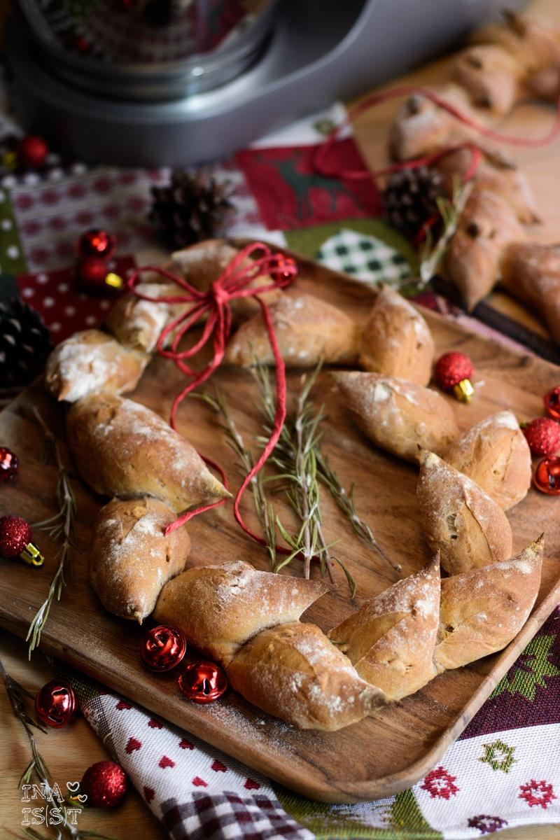 Rezept Pain d'épi - Ein Weihnachtsbrot mit Rosmarin und Walnüssen