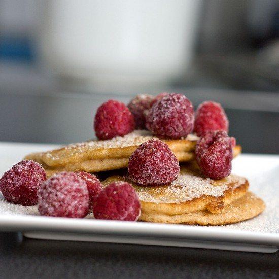 Rezept Pancakes (mit Joghurt und Himbeeren)