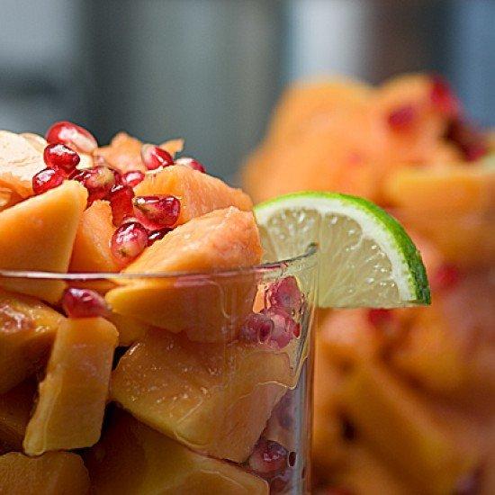 Rezept Papaya mit Granatapfelkernen und Limettensaft