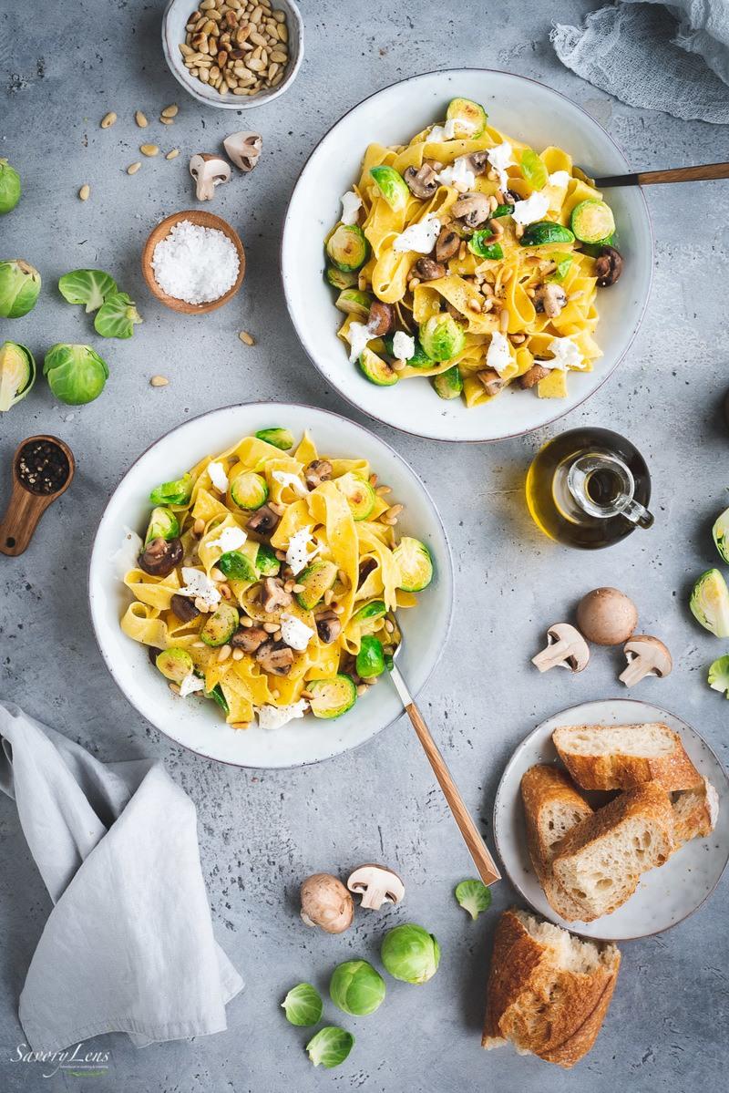 Rezept Pappardelle mit Rosenkohl, Pilzen und Burrata