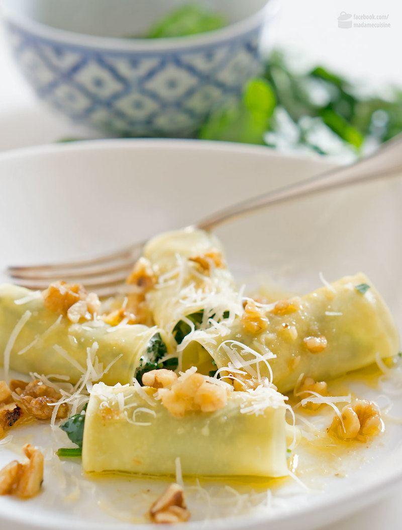 Rezept Pasta Involtini mit Blattspinat & Ziegenkäse