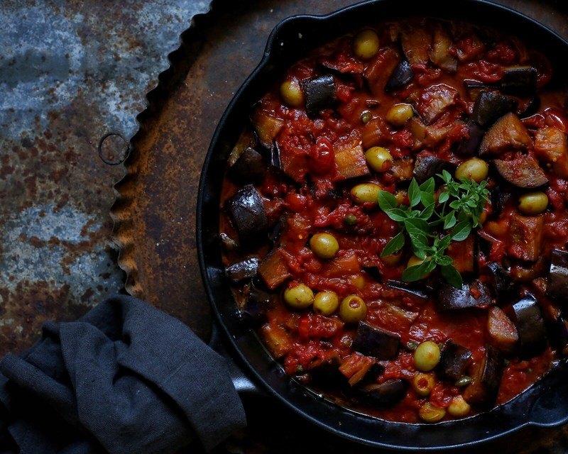 Rezept Pasta mit Auberginen, Tomaten und Kapern