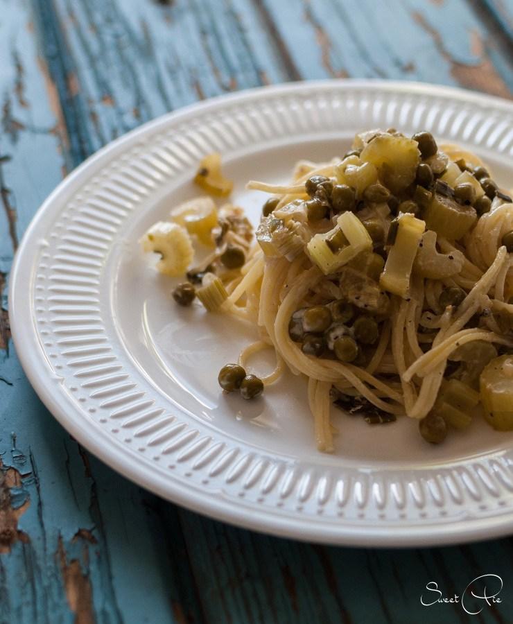 Rezept Pasta mit Erbsen & Sellerie