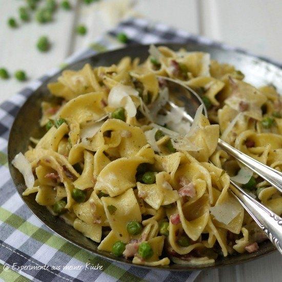 Rezept Pasta mit Erbsen, Speck und Minze