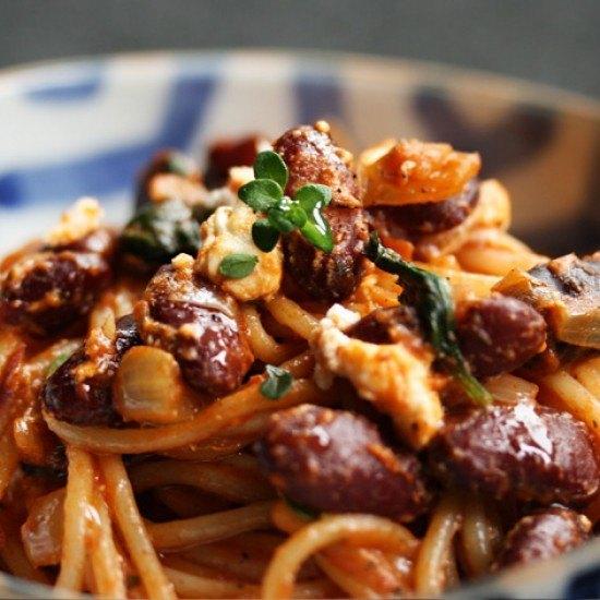 Rezept Pasta mit Kidneybohnen, Feta & Kräuterbutter