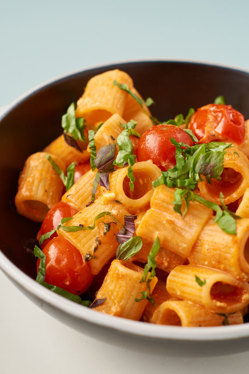 Rezept Pasta mit Kirschtomaten und Feta