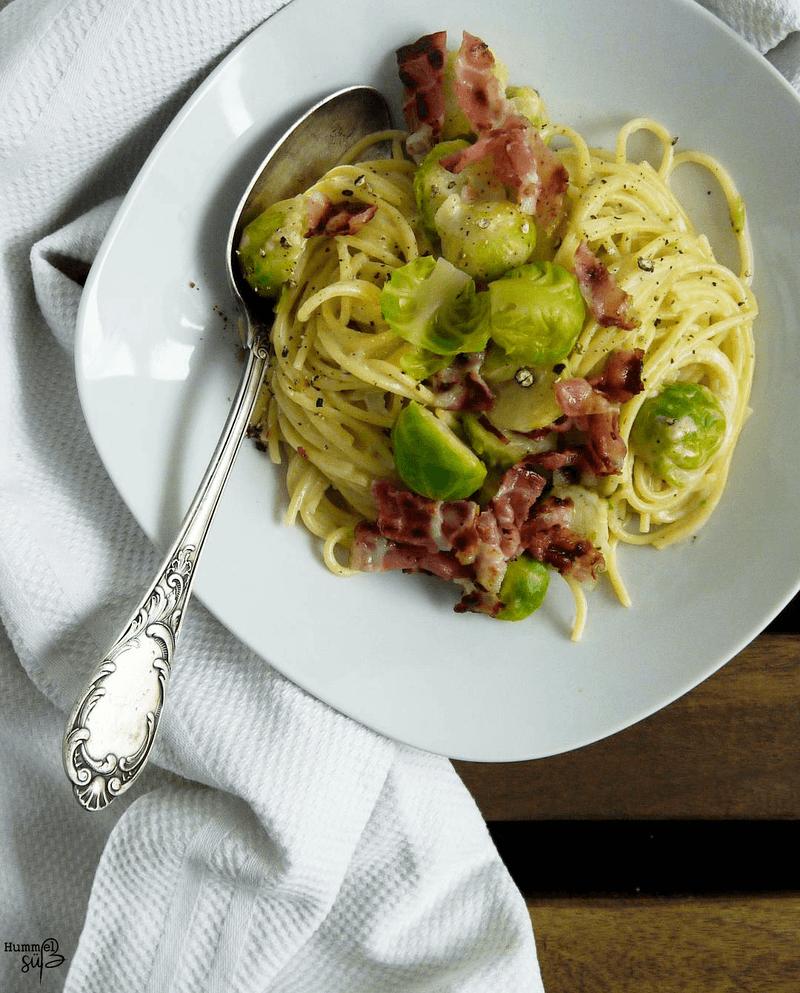 Rezept Pasta mit Rosenkohl und Bacon