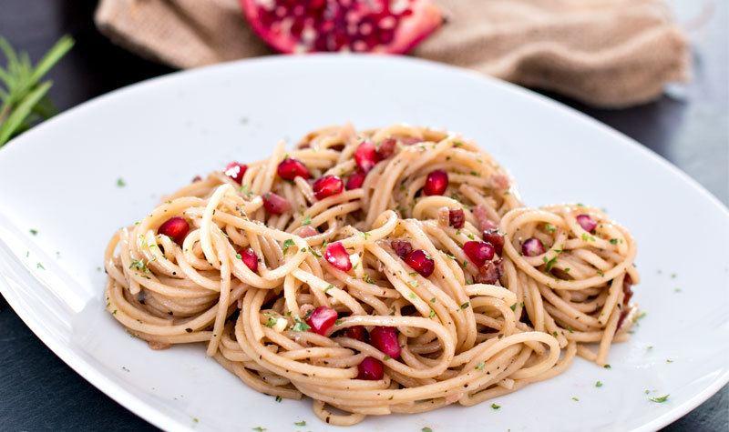 Rezept Pasta mit Speck & Granatapfel