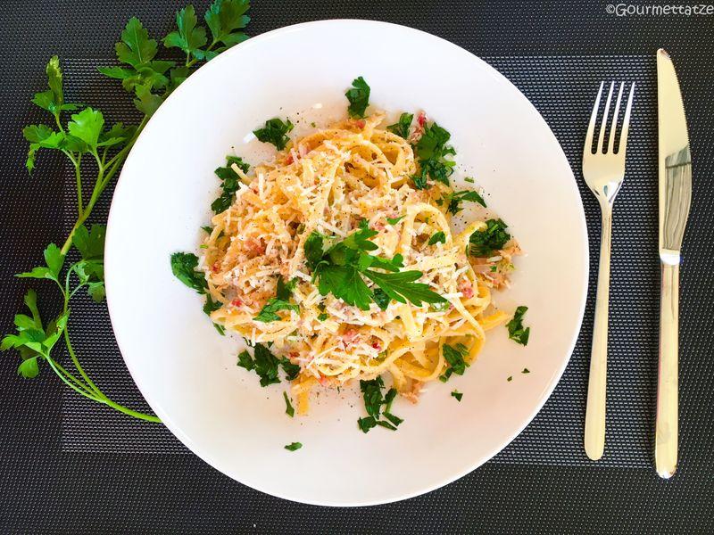 Rezept Pasta mit zitroniger Thunfisch-Carbonara
