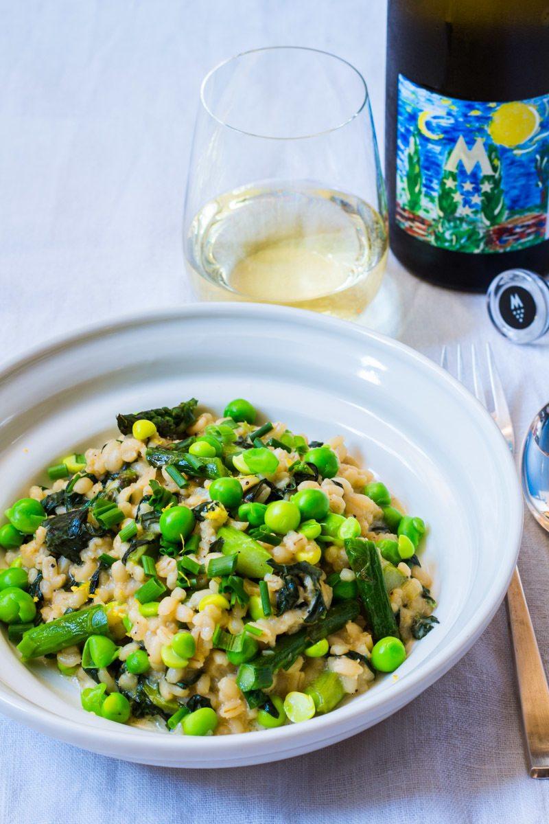 Rezept Perlgraupenrisotto mit grünem Spargel, Erbsen und Spinat