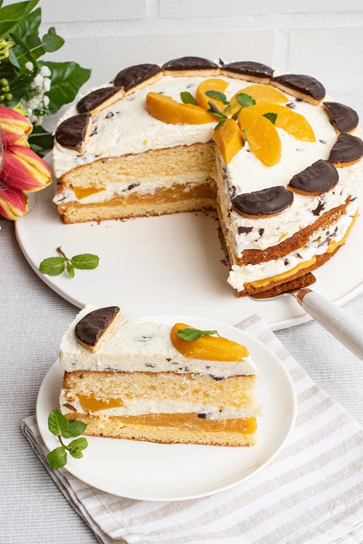 Rezept Pfirsich-Schaumkuss-Torte