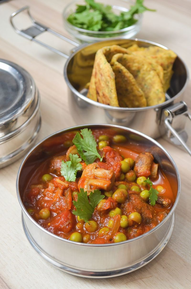 Rezept Pilz-Curry mit Kichererbsen-Roti