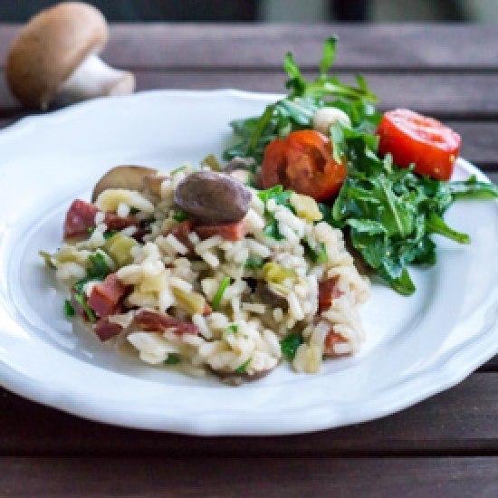 Rezept Pilzrisotto mit Salamiwürfeln
