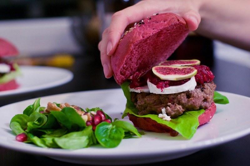 Rezept Pink Burger mit Ziegenkäse und Feigensenf