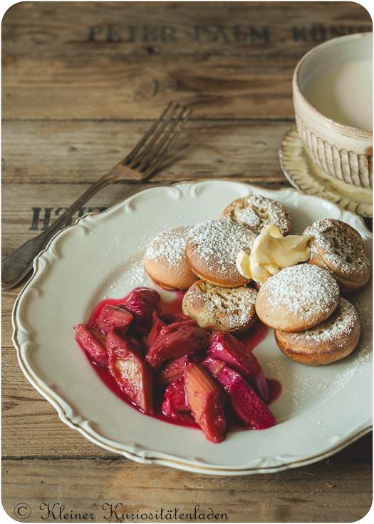 Rezept Poffertjes mit Rhabarber-Hibiskus-Kompott