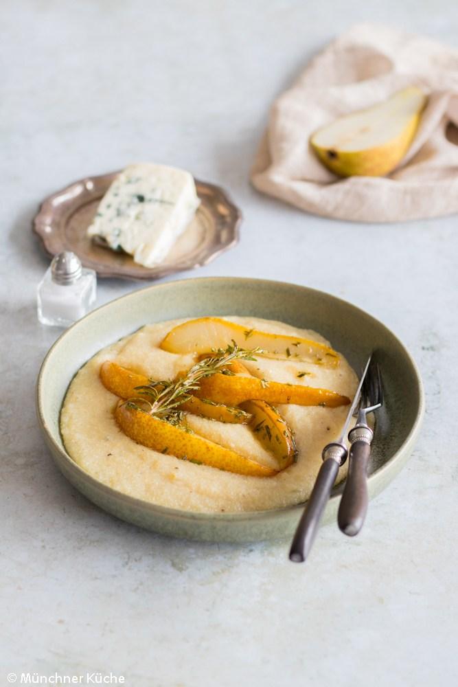 Rezept Polenta mit Birnen und Roquefort