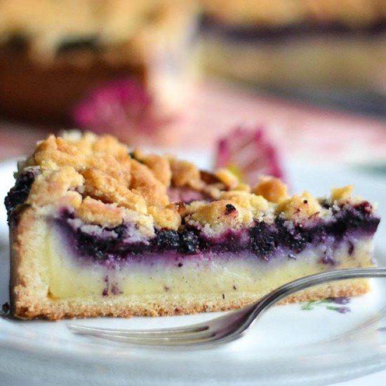 Rezept Pudding - Blaubeer - Streuselkuchen