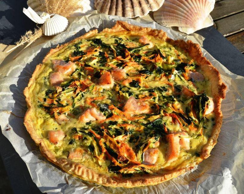 Rezept Quiche mit Lachs, Möhren und Zucchini