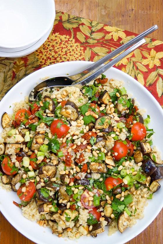 Rezept Quinoa mit gebackenen Auberginen und Cherry-Tomaten