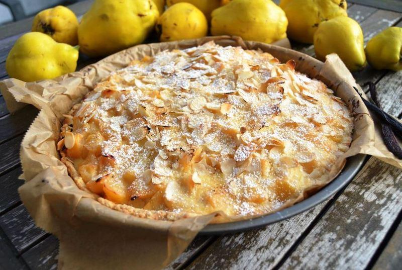 Rezept Quittentarte mit Mandeln und Creme Fraiche