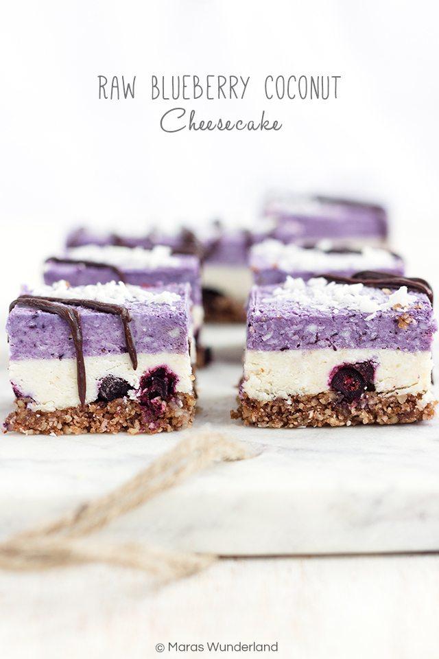 Rezept Raw Blueberry Coconut Cheesecake