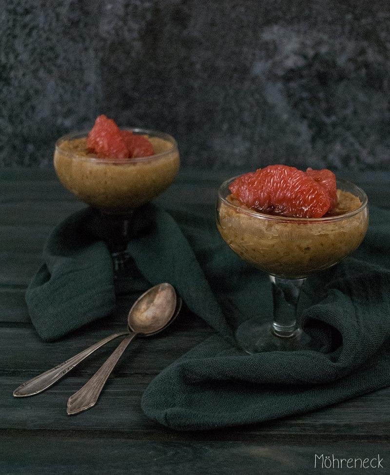 Rezept Reispudding mit in Orangenblütenwasser eingelegten Blutorangen