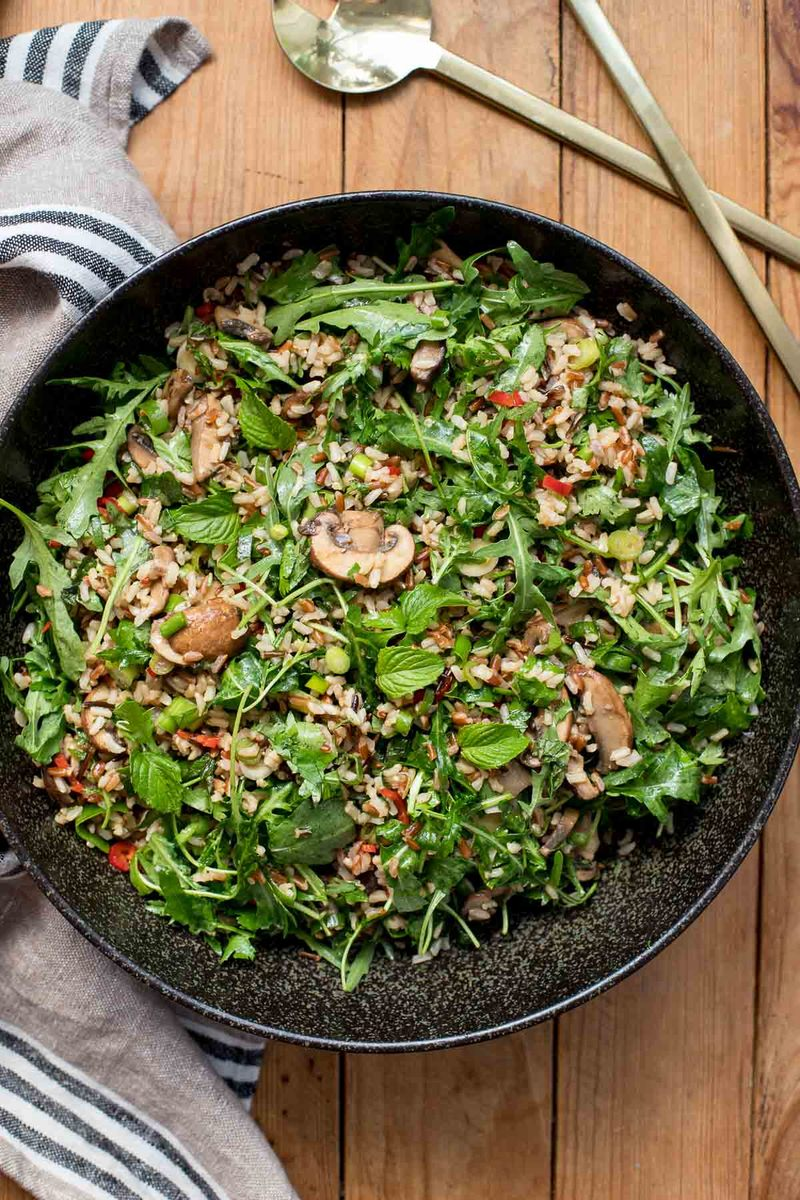 Rezept Reissalat mit Champignons und Kräuter