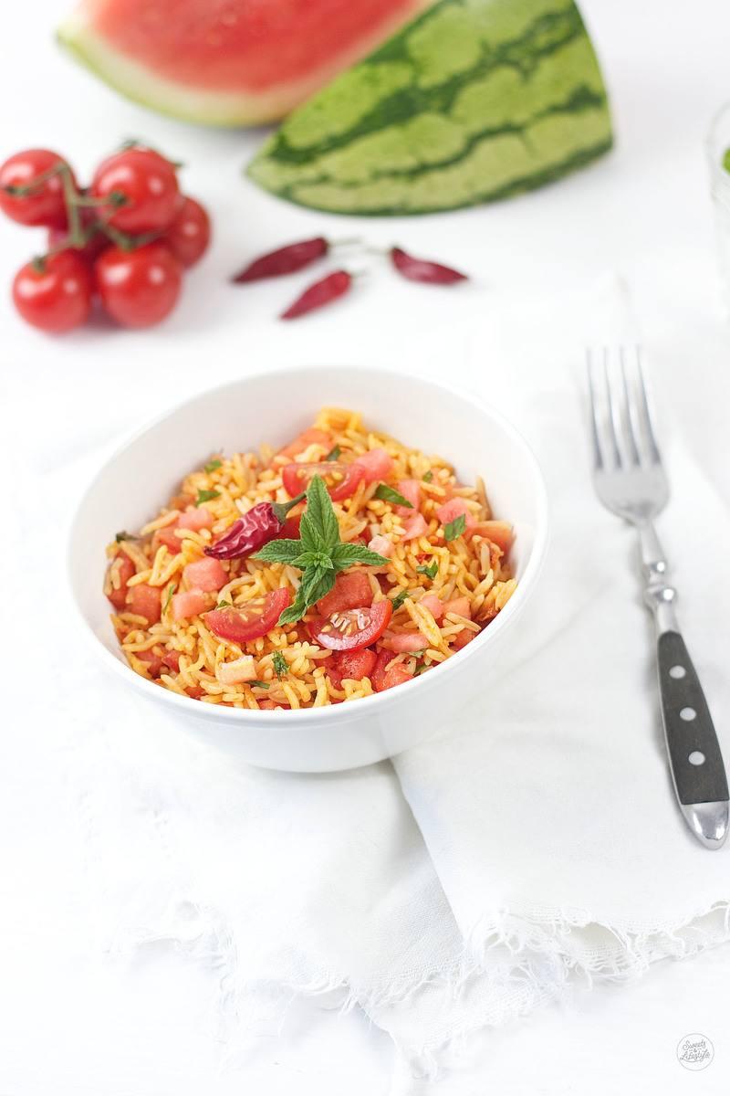 Rezept Reissalat mit Chili, Wassermelone und Tomate
