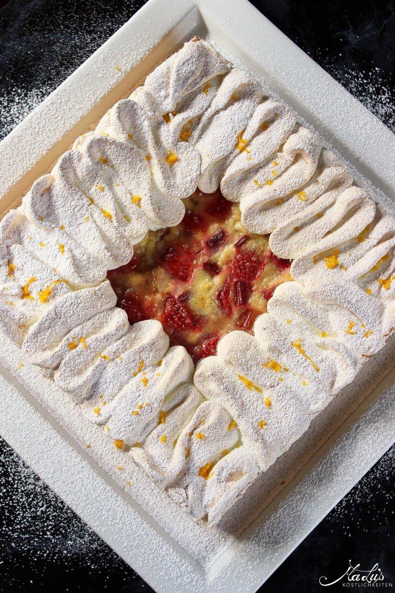 Rezept Rhabarber-Erdbeer Flan Tarte mit Orangenbaiser