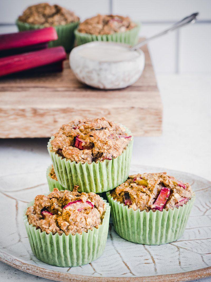 Rezept Rhabarber Muffins, glutenfrei und mit Süße nur aus Früchten